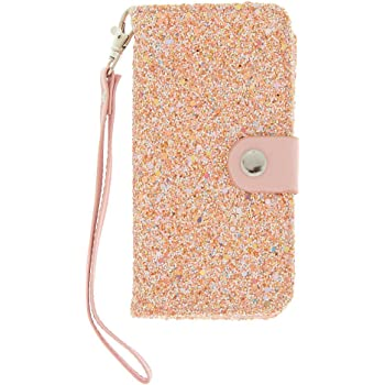 more photos 2b713 5c53b Claire's Girl's Blush Crushed Glitter Folio Phone Case - Pink ...