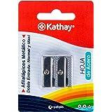Kathay 86614300 potloodslijper van metaal, dubbele puntenslijper: normaal en maxi, lemmet van staal