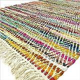 Eyes of India - 2 X 3, 4 X 6, 5 X 7, 5 X 8 Pieds Blanc Coloré Chindi Tissé Décorative Carpette Multicolore Tapis Boho Bohème Indien - Multi, 4 X 6 ft. (120 X 180 cm)...