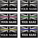 Custom Tactical Military Name Patch, Personalized Embroidery Number tag, British Flag Fastener Hook & Loop Name Patch for Mul