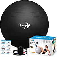 Exercise ball with Air Foot Pump 55-75cm - Anti-Burst Support 2200lbs Extra thick Yoga Birthing Pregnancy Pilates Core…