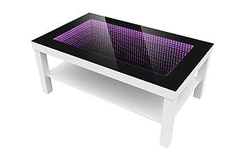 Modern Couchtisch Glastisch Beistelltisch Tiefeneffekt Tisch LED 3D 90x55 Weiss