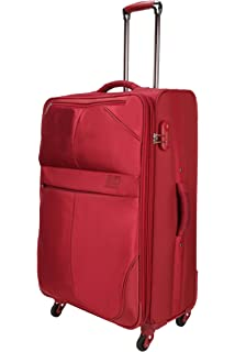 Nasher Miles Brunei Soft Sided Polyester Check in Luggage Red 24 inch |65cm Trolley Bag