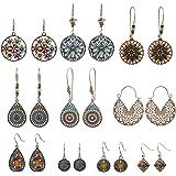 NEPAK 10 Paar Boho Stil Lange Baumeln Ohrringe,Hängeohrringe im Bohemian Vintage,baumelnde Ohrringe für Damen und Mädchen