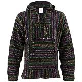 Siesta Mexican Baja Jerga Black and Multi Coloured Hooded Hippie top