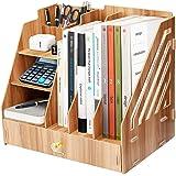 Boîte de rangement de bureau en bois, support de fichiers multifonctionnel bricolage, adapté au bureau, à la maison et à l'éc