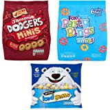 Mini Biscuits 18 pack Bundle. Jammie Dodgers, Party Rings, Iced Gems. Small Treat Bags for Parties, Lunch Boxes, Snacks