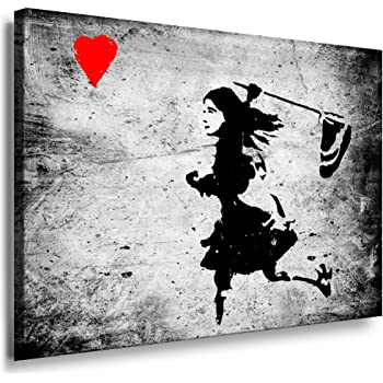 banksy street art graffiti dolk girl herz leinwand bild fertig auf keilrahmen. Black Bedroom Furniture Sets. Home Design Ideas