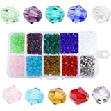 LAOYE 6mm Glasperlen zum auff/ädeln 1200 St/ück Facettierte Glas Perlen mit 20 M Schmuckfaden 24 Farben Doppelkegel Kristall Glas Perlen K/ügelchen f/ür DIY Schmuck Halskette Armband Basteln