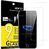 NEW'C 2 Unidades, Protector de Pantalla para iPhone 7 Plus y iPhone 8 Plus, Antiarañazos, Antihuellas, Sin Burbujas, Dureza 9