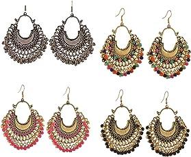 Karatcart Afghani Tribal Oxidised Fashion German Silver Beaded Chandbali Hook Dangler Stylish Fancy Party Wear Earrings For Women