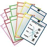 Daptsy 12 pièces Pochettes effaçables à sec Poches d'écriture et d'essuyage réutilisables pour fournitures de bureau et d'enseignement Protecteurs de feuilles en plastique (10 × 13 pouces)
