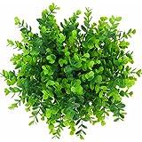 XONOR - 6 Paquetes de Plantas Artificiales Verdes para el jardín, Resistente a los Rayos UV, para casa de Campesinos, jardín