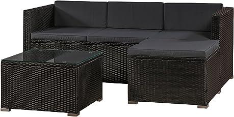 ArtLife Polyrattan Lounge Punta Cana M für 3-4 Personen mit Tisch in Schwarz mit Bezügen in Dunkelgrau