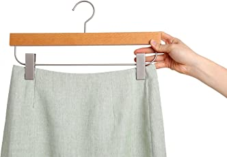 AADYA Hanger Deluxe Beech Wooden Pant Skirt Hangers with 2-Adjustable Clips, Natural Finish, 5-Pack