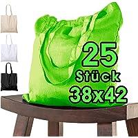 25 Stück Baumwolltasche 38 x 42 cm, HELLGRÜN unbedruckt, lange Henkel Stofftasche Tragetasche Umhängebeutel…