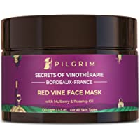 Pilgrim Anti Ageing Red Vine Face Pack & Mask with Mulberry Extracts & Rosehip Oil for Glowing Skin, De-Tan, Dark Spots…
