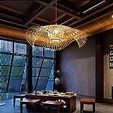 Suspension En Bambou Naturel Tissé Rétro Pays Lampe Suspendue Tissée À La Main E27 Suspension Villa Couloir Salon Éclairage L