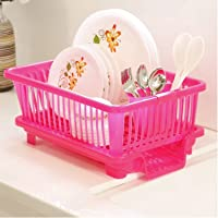 GLIVE (LABEL) Kitchen Sink Dish Drainer - Drying Rack Chopsticks Spoon Organizer Tray Tableware Holder Basket - Dish Drainer Rack with Tray Washing Basket (Pink)