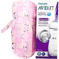 1stbabystore New Born Baby Soft Velvet Plush Milk Feeding Bottle Cover Suitable for Philips Avent Natural Feeding Bottles Upto 260ml Capacity Square Print Pink