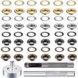 Oogje Set, Metalen Grommet Kit met 3 Stks Gereedschapskit en Opbergdoos, 4 Kleur, 400 Stks in Totaal