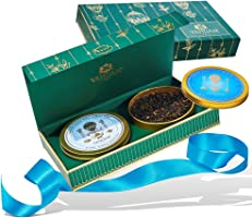 VAHDAM, Teegeschenkset Private Reserve - 2 TEE, 50 SERVINGS - Runde Golddosen in luxuriöser Präsentationsbox | Bestes Geschenk für Ehemann