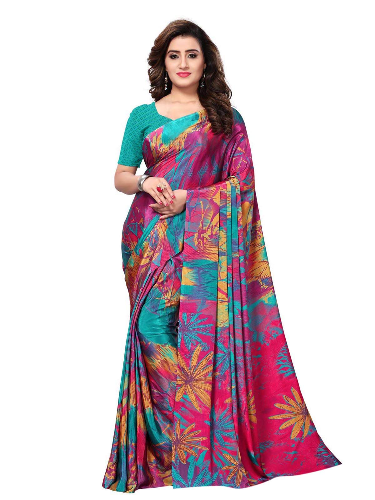 KANCHNAR Women's Crepe Printed Saree with Blouse Piece