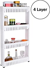 GETKO WITH DEVICE Plastic 4 Layer Kitchen Space Saving Storage Rack with Wheels(White)