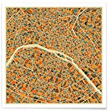 JUNIQE® Affiche 20x20cm Cartes de villes Paris - Design 'Paris' (Format : Carré) - Poster, Tirages d'art & Tableaux par des artistes indépendants - Tirages d'art et images de Paris - créé par Jazzberry Blue