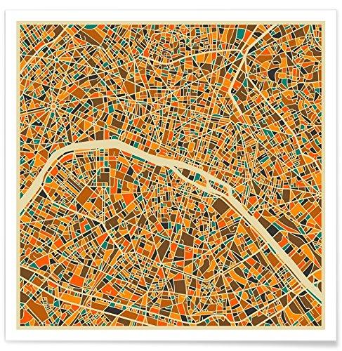 """JUNIQE® Poster 20x20cm Stadtpläne Paris - Design """"Paris"""" (Format: Quadrat) - Bilder, Kunstdrucke & Prints von unabhängigen Künstlern - Kunst & Bilder von Paris - entworfen von Jazzberry Blue"""