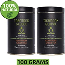 Teamonk Nilgiri Organic Rose Green Tea for Weight Loss, 50g (25 Cups)-Pack of 2 | 100% Natural Whole Leaf Tea with Natural Rose Petals | Azaya Green Tea for Glow & Immunity | No Additives