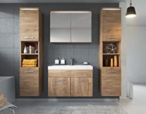 Badezimmer Badmöbel Set Paso XL LED 80 Cm Waschbecken Lefkas (Braun)    Unterschrank 2X