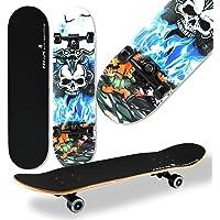 WeLLIFE Skateboard Completo per Principianti RGX Skate Board in Legno 79x20 cm in 9 Strati d'Acero Concavo Double Kick…