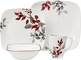 Corelle Vitrelle Glass Kyoto Leaves Dinnerware Set - 16 Pieces