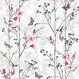 Muriva 102550 Novelties Eden Wallpaper Rolls - Pink