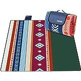 Homfa 200 x 200 cm Picknickdecke XXL Stranddecke aus Fleece Wasserdicht groß Faltbar Leicht mit Tragegriff Matte Decke für Camping Picknick Reise (Gelb-Grün Streifen)