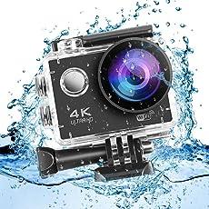Cozime Action Cam 4K Wasserdicht 30M mit WiFi 16MP Ultra HD Video Auflösung 30fps, 170° Weitwinkel Action Kamera-Schwarz