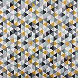 SCHÖNER LEBEN. Tischdeckenstoff beschichtete Baumwolle Dreiecke weiß grau gelb türkis schwarz 1,5m Breite