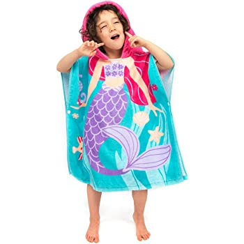 7c1ec8d13a Florica 100% Cotton Kids Childs Boys Girls Lovely Hooded Ponchos Swimming Bath  Towel (Mermaid)