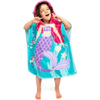 Florica 100% Cotton Kids Childs Boys Girls Lovely Hooded Ponchos Swimming Bath Towel (Mermaid)
