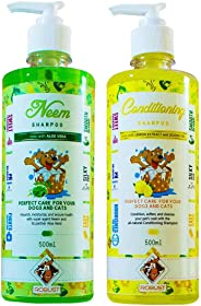 Robust Neem Combo of Dog/Cat Shampoo with Aloe Vera, 500 ml & Dog/Cat Conditioning Shampoo with Jojoba Oil and Lemon Extract,
