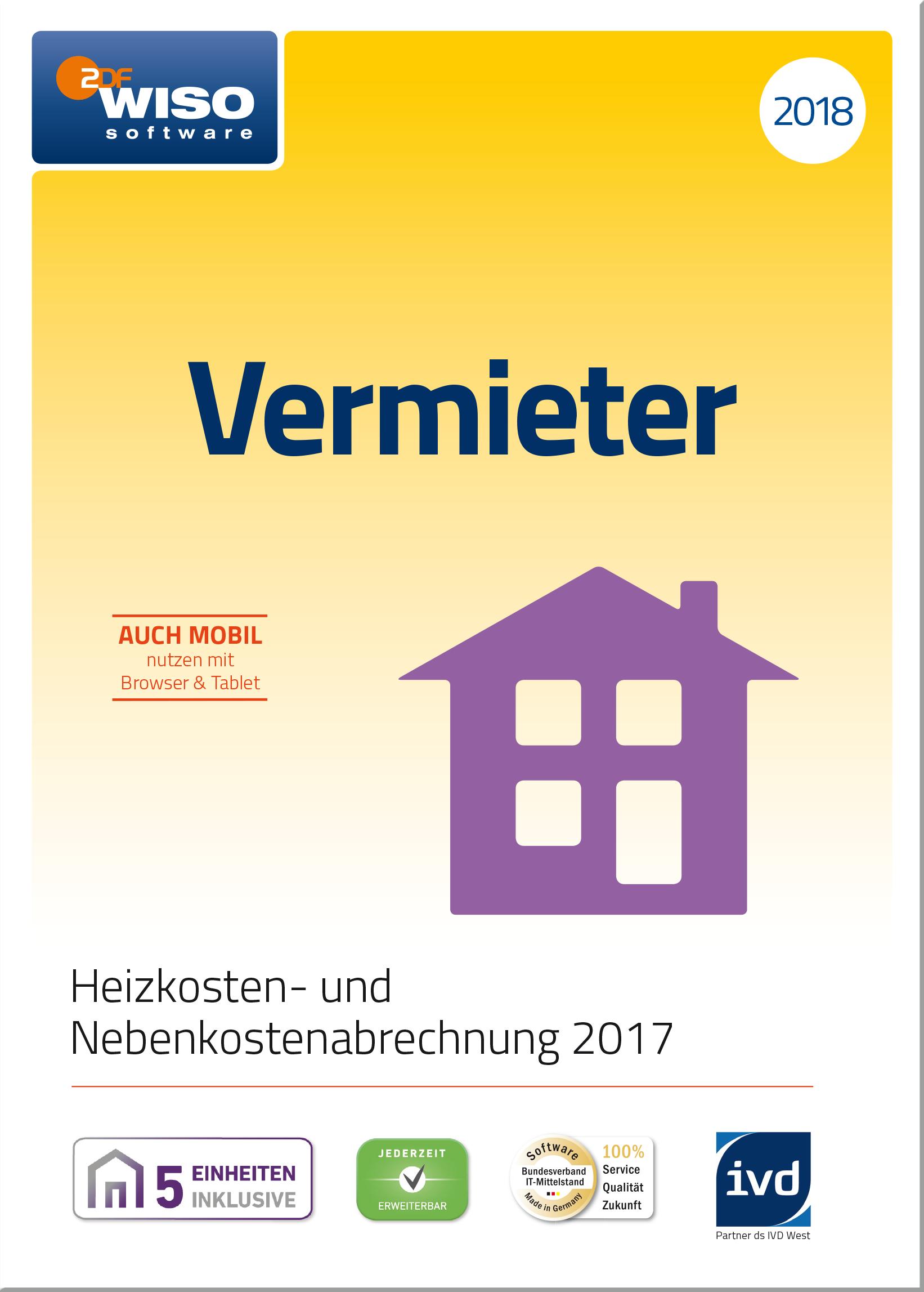 WISO Vermieter 2018 - Mietneben- und Heizkosten korrekt abrechnen 2017  [Online Code]