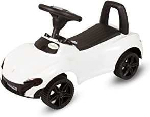 GoodLuck Baybee - Toddlers Ride On Push Car With Music Toy Children Rider & Small Toy Infant Baby Toys | No Battery | Twist, Turn, Wiggle for endless fun Sports car | Kids Suitable For Boys & Girls (1-2 years)(White)