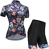 GWELL Maillot Ciclismo Mujer Cclismo Conjunto de Ropa + Culote Pantalones Acolchado 3D para Bicicleta Verano Deportes al Aire