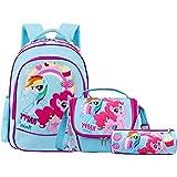 SEDEX School Bags for Girls Kids Backpack Little Horse Toddler School Cute Bags Waterproof Lunch Bag with Snack Pencil Bag fo