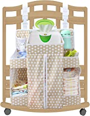 Diaper Organizer Changing Table Hanging Organization Caddy Storage for Nursery, Size 17.3x 20.5x 7.1 cm, (Biubee-diaper organizer, light brown)