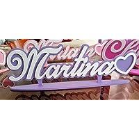 Nome in legno personalizzato con fondo e base appoggio, decorazione cuore finale, per tavolo torta o stanzetta