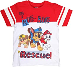 Planet Superheroes Paw Patrol On A Ruff Ruff Rescue Red and White Cut Neck T-Shirt