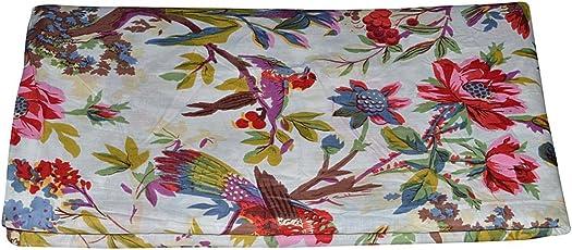 Rajcrafts Bird Print Fabric Cotton Dress Making 5 Meter Indian Handmade Dress Running Fabric