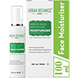 UrbanBotanics® Oil Free Moisturizer For Face - Mattyfying Light Moisturiser Face Cream For Oily Skin - With Neem & Basil Extract - For Normal, Oily & Acne Prone Skin (Day And Night Moisturizing Cream), 100ml
